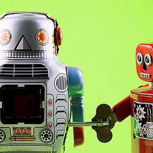 Toy robots (© Antonio M. Rosario, Tetra images, Getty Images)