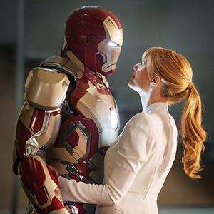 Robert Downey Jr., as Iron Man, and Gwyneth Paltrow in Iron Man 3 (© W.Disney/Everett/Rex Features)