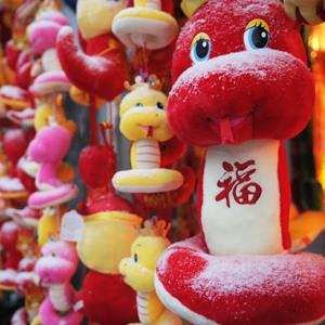Toy snakes for sale are covered in snow at market in Shanghai on February 8, 2013 (PETER PARKS/AFP/Getty Images)