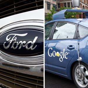 Trucks at a Ford dealership in Littleton, Colo. © David Zalubowski/AP Photo; The Google self-driving car © KAREN BLEIER/AFP/GettyImages