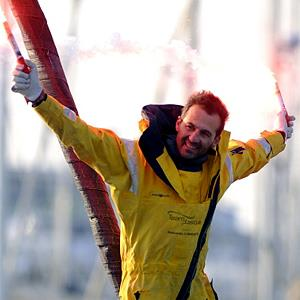 Alessandro di Benedetto celebrates finishing the Vendee Globe yacht race © Jean-Sebastien Evrard/AFP/Getty Images