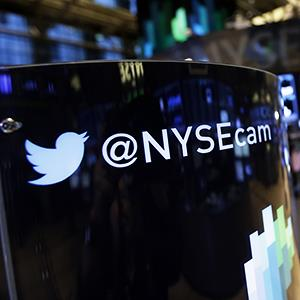 Twitter logo at NYSE © Richard Drew/AP