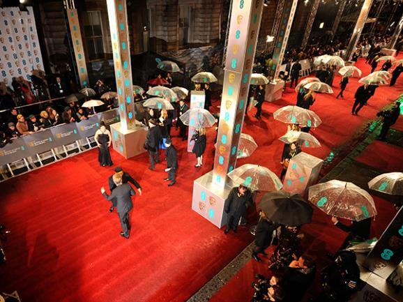 A very soggy Bafta red carpet!