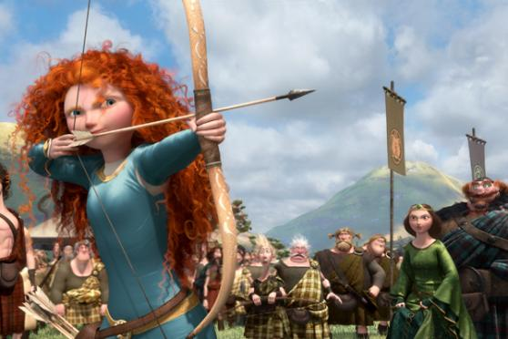 Merida with her bow and arrow in the Brave movie.