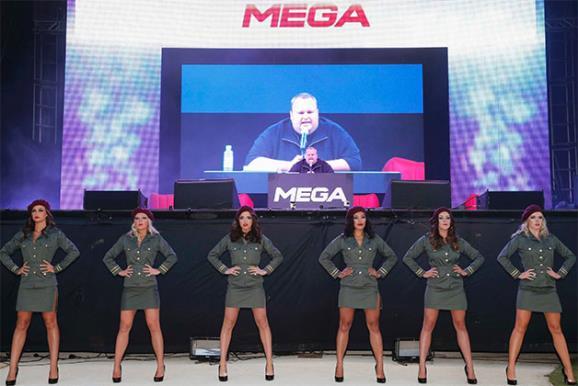 Kim Dotcom at the launch of Mega. Image Reuters