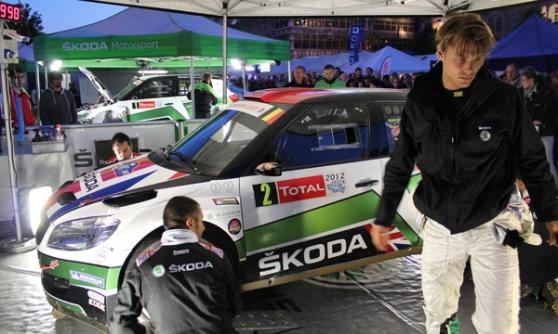 Andreas Mikkelsen in the service park with his S2000 Skoda Fabia at Rally Ypres 2012 (c) Motoring Research