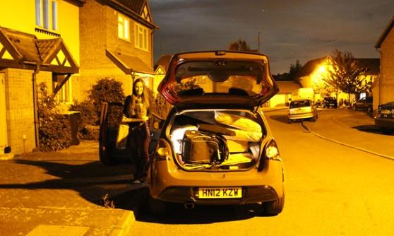 Renaultsport Twingo in the dark, fully loaded boot (c) CJ Hubbard / Motoring Research