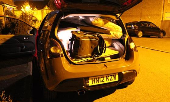Renaultsport Twingo in the dark, packed with stuff (c) CJ Hubbard / Motoring Research