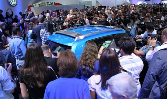 Volkswagen Taigun lost in the crowds, Sao Paulo Motor Show 2012, Brazil (c) CJ Hubbard / Motoring Research