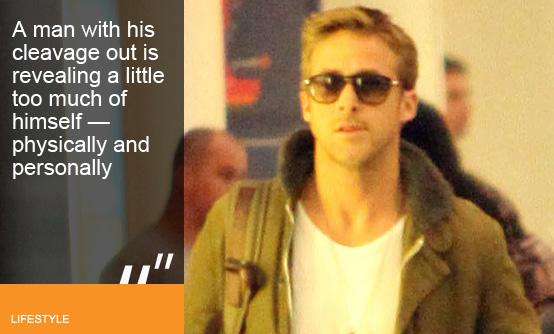 Ryan Gosling shows off his 'heavage' at New Orleans airport (image © Big Pictures)