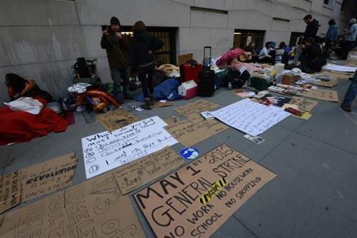 Protestas en Wall Street, Nueva York. Foto: Sebastián Álvaro