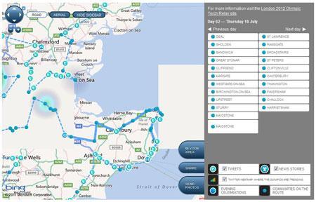Herramienta de seguimiento de la Llama Olímpica. MSN UK