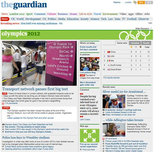 Portada de The Guardian online