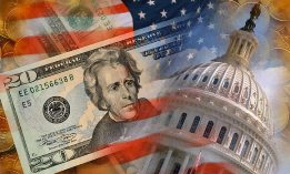 Photo illustration of U.S. currency & U.S. Capitol (© SuperStock)