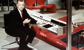 Video still of Walter Cronkite in 'The 21st Century' in 1967 (© Everett Collection)