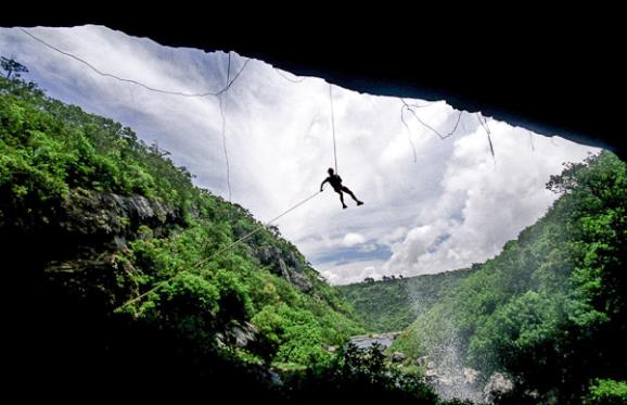 Jonathan canyoning in Mauritius recently. Mark was suspended upside down under a waterfall for most of the day waiting for the money shot