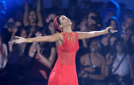 Rihanna performs at the MTV Video Music Awards on Sept. 6, 2012, in Los Angeles. (Photo by Mark J. Terrill/Invision/AP)