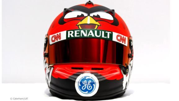 Heikki Kovalainen's Formula One helmet for the 2012 season, with added Angry Birds (image © Caterham/LAT)