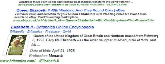 Our search for 'Queen Elizabeth II' provided the following result.