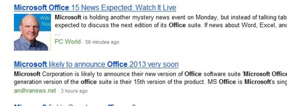 A search for Microsoft Office in Bing.