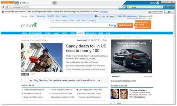 firefox with msn sets your home page as well as