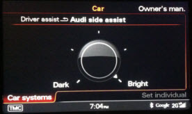 Audi A7 Side Assist adjustment