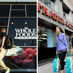 File photo of a Whole Foods store in Santa Monica, Calif.; File photo of a Trader Joe's in New York City (© Reed Saxon/AP Photo; Andrew Gombert/epa/Corbis)