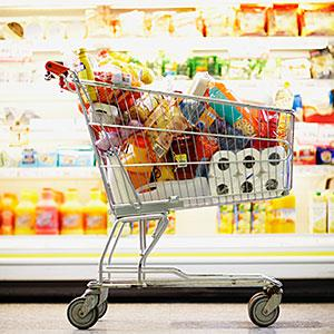 Full Shopping Cart in Grocery Store© Fuse/Getty Images