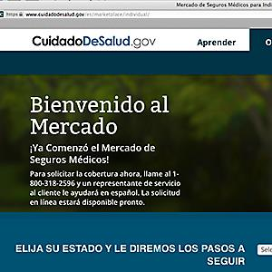 This screenshot made Nov. 26, 2013, shows the U.S. Department of Health and Human Services' web page for the Spanish language version HealthCare.gov © U.S. Department of Health and Human Services/AP