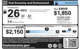 EPA fuel rating window sticker.