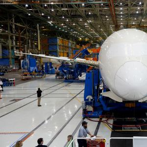 The first Boeing Co. 787-9 Dreamliner airplane is assembled at the Boeing Everett Factory in Everett, Washington, U.S., on Wednesday, May 29, 2013. (c) Patrick T. Fallon/Bloomberg via Getty Images