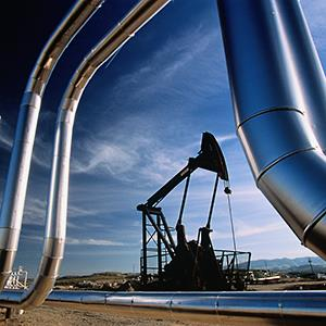Caption: An oil field near Bakersfield, Calif.
