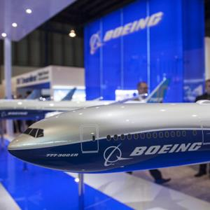 A model of a Boeing Co. 777-300 ER Dreamliner aircraft is displayed at the Singapore Airshow