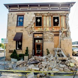 A crumbling facade at the Vintner's Collective tasting room in Napa, Calif. © Noah Berger/AP