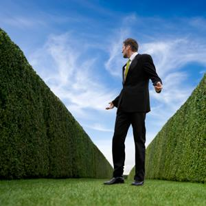Businessman surrounded by large hedges © Chris Price/Getty Images