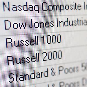 Dow Jones, Standard & Poors, Nasdaq, Russell 1000, Russell 2000, US Stock Market Indices © Image Broker/Rex Features