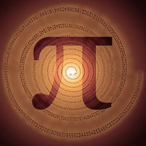 Greek letter pi over spiral made of pi figures © Romantiche/Alamy