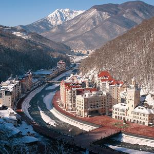 A picture taken on December 18, 2013 shows the Krasnaya Polyana resort near the Black Sea city of Sochi