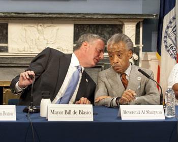 Bill de Blasio y Al Sharpton (David McGlynn / Splash News)