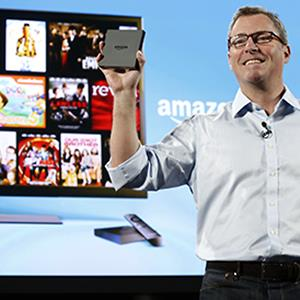 Peter Larsen, vice president of Amazon.com Inc., introduces Amazon FireTV during a news conference in New York, U.S., on Wednesday, April 2, 2014 © Jin Lee/Bloomberg via Getty Images