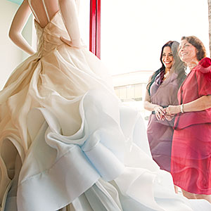 Mother and daughter looking at wedding dress © Image Source, Getty Images