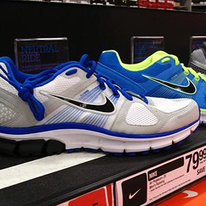 Nike running shoes are displayed for sale at a store in Encinitas, California 