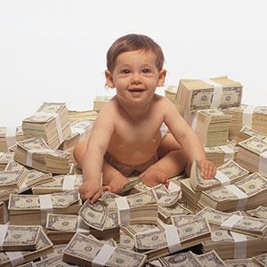 Baby with money © Creatas, Photolibrary