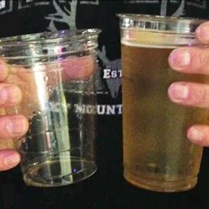 Video still of beer cups at a Boise stadium Courtesy of HeathandGwenHunt via Facebook