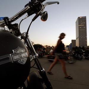 A Harley Davidson motorcycle during the company's 110th anniversary celebration in Milwaukee, Wis., on Thursday (© Morry Gash/AP)