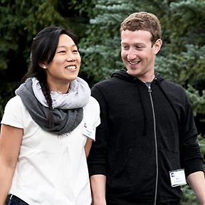 Mark Zuckerberg, chief executive officer and founder of Facebook, and wife Priscilla Chan © Andrew Gombert/EPA