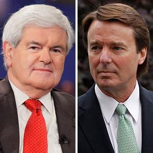 (From left) Newt Gingrich & John Edwards (© Paul Drinkwater/NBCU Photo Bank via Getty Images ; Chuck Liddy/Raleigh News & Observer/MCT via Getty Images)