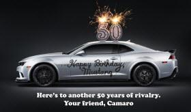 Chevy Camaro wishes Mustang happy 50th birthday. Photo by Chevrolet.