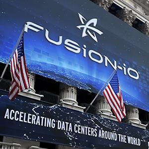 A Fusion-io Inc. banner hangs on the front of the New York Stock Exchange in New York © Peter Foley/Bloomberg via Getty Images