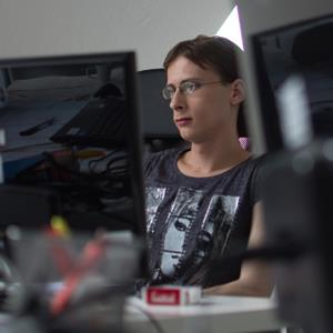 Melanie Altrock, 27-year autistic programmer employed at the company Auticon sits at her workplace in Berlin. When German software giant SAP said it plans to employ hundreds of autistic people as IT experts, the news was welcomed especially at Auticon, a pioneering small computer consulting firm that already employs 17 people who live with autism. © JOHANNES EISELE/AFP/Getty Images